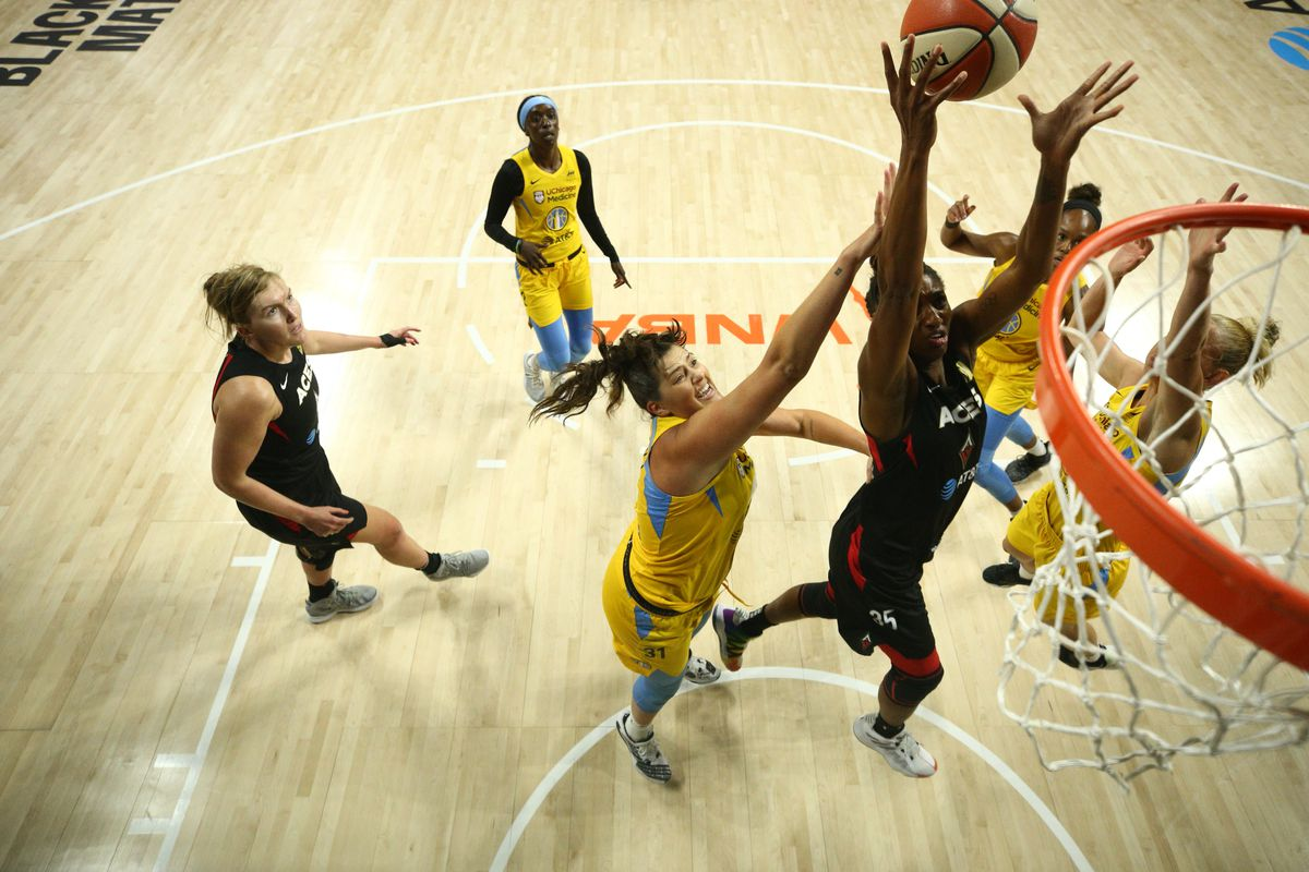 Angel McCoughtry of the Las Vegas Aces grabs the rebound against the Chicago Sky on July 26, 2020 at Feld Entertainment Center in Palmetto, Florida.