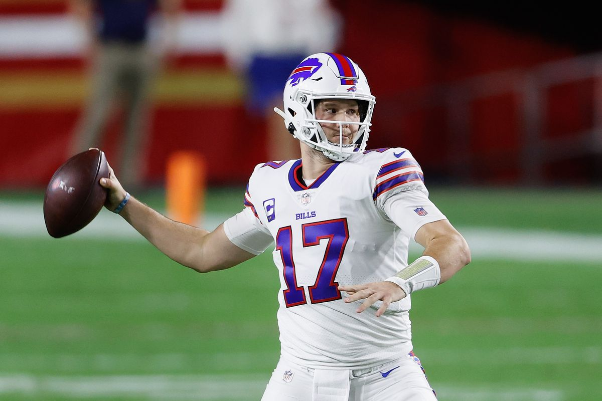 Quarterback Josh Allen #17 of the Buffalo Bills drops back to pass during the NFL game against the San Francisco 49ers at State Farm Stadium on December 07, 2020 in Glendale, Arizona. The Bills defeated the 49ers 34-24.