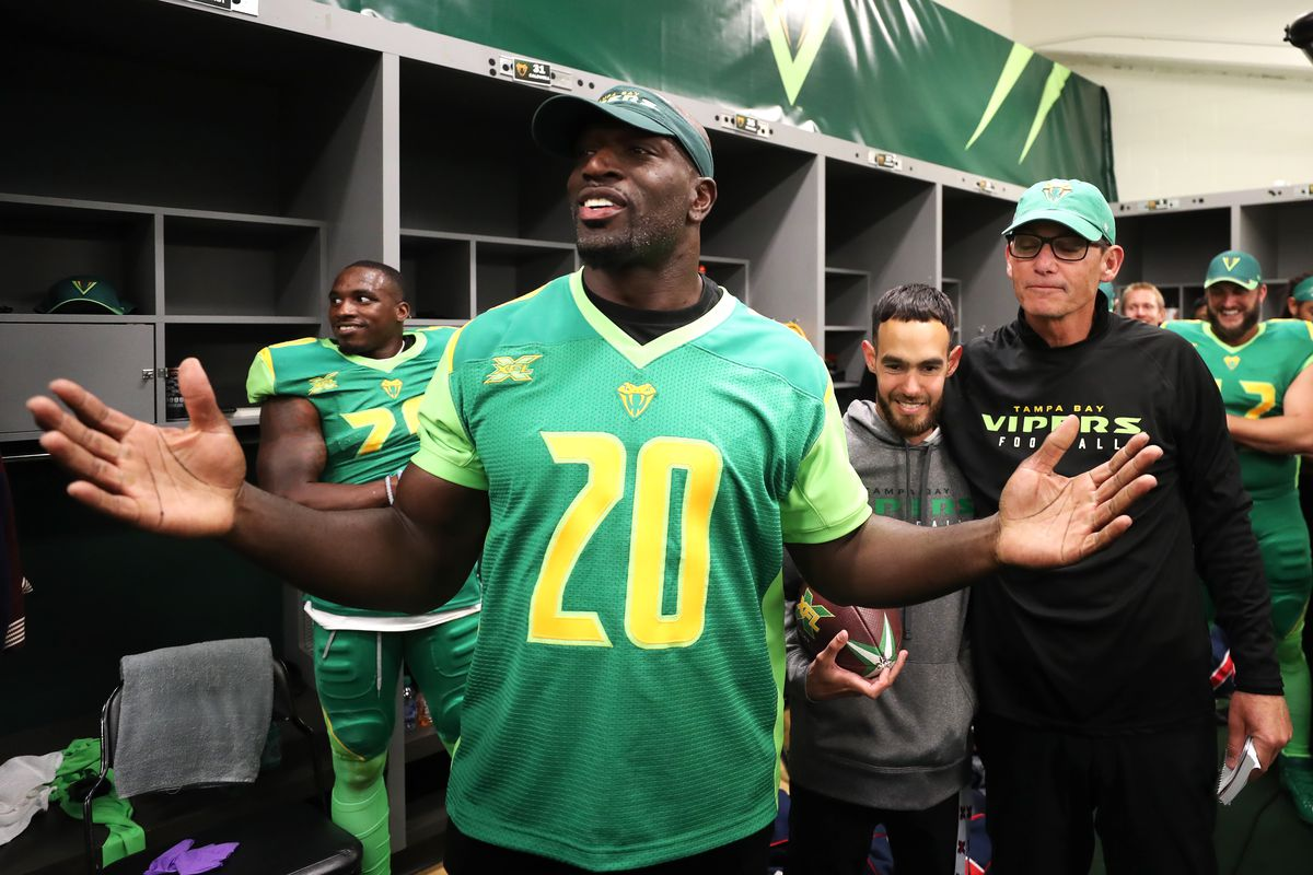 WWE superstar Titus O'Neil talks to the Tampa Bay Vipers after the XFL game against the DC Defenders at Raymond James Stadium on March 1, 2020 in Tampa, Florida.