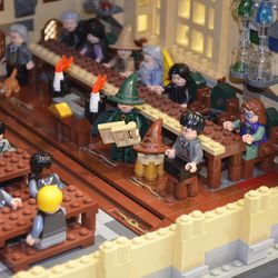 """Harry Potter gets sorted into his house on the display """"Harry Potter Sorting in the Great Hall"""" by Brett Francis. The display was shown at the BrickSlopes Lego fan event at Utah Valley University June 24-25."""
