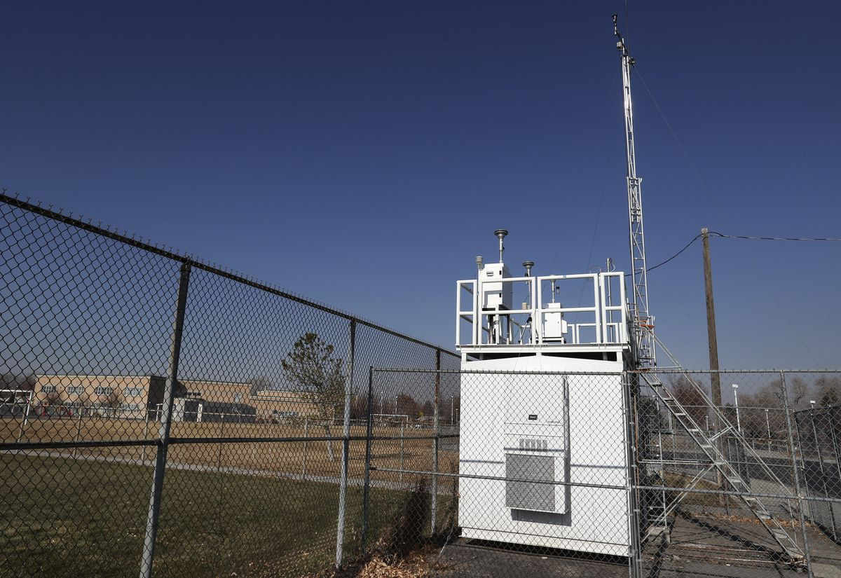 A Utah Division of Air Quality air monitoring station that measures particulates and other pollutants is pictured near Newman Elementary School in Salt Lake City on Monday, Dec. 7, 2020.