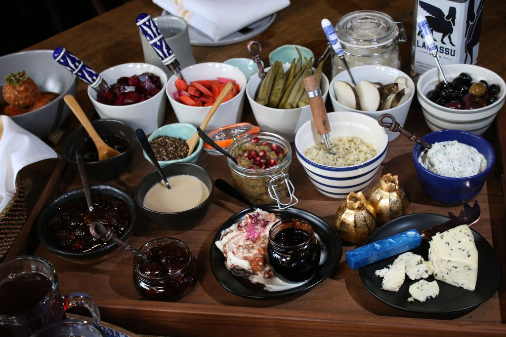 A spread of various pickled vegetables (oregano carrots, basil-infused okra, thyme-soaked black turnips), spreads, olives, preserves, cheeses, yogurt and tapenade, served at Assyrian Kitchen in Jefferson Park. | Brian Rich/Sun-Times