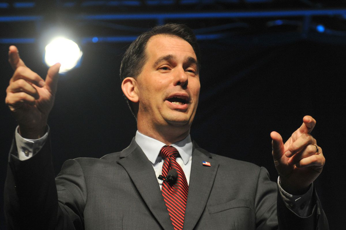 Republican Presidential hopeful and Wisconsin Gov. Scott Walker speaks at the Iowa Faith & Freedom Coalition 15th Annual Family Banquet and Presidential Forum held at the Iowa State fairgrounds on September 19, 2015 in Des Moines, Iowa.
