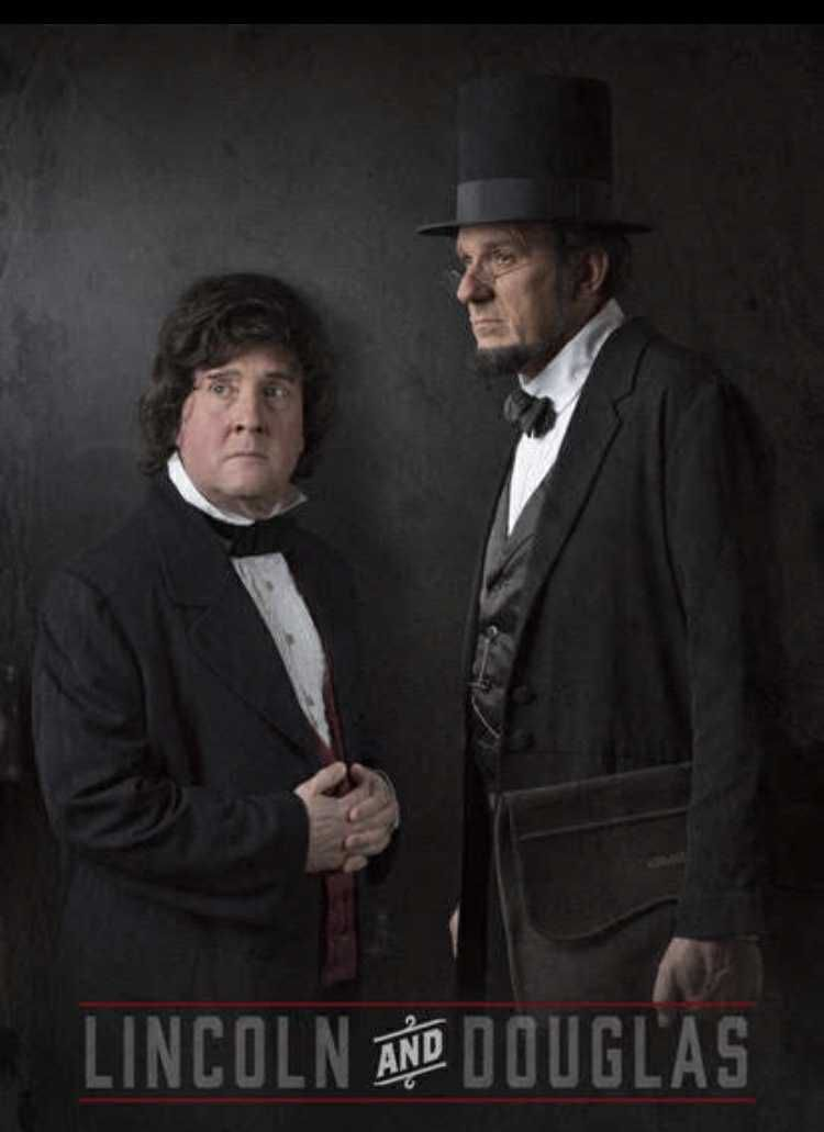 Tim Connors, who portrays Stephen Douglas, and George Buss, who plays Abraham Lincoln, in a promotional poster.