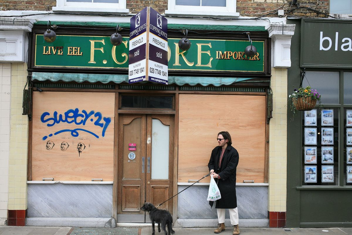 F.Cooke, boarded up on Broadway Market in east London