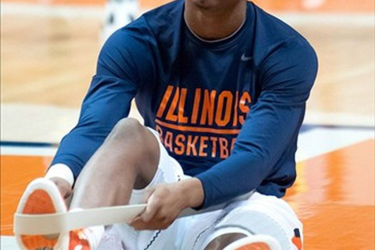 Feb 26, 2012; Champaign, IL, USA; Illinois Fighting Illini guard Tracy Abrams before the game against the Iowa Hawkeyes at Assembly Hall. Mandatory Credit: Bradley Leeb-US PRESSWIRE