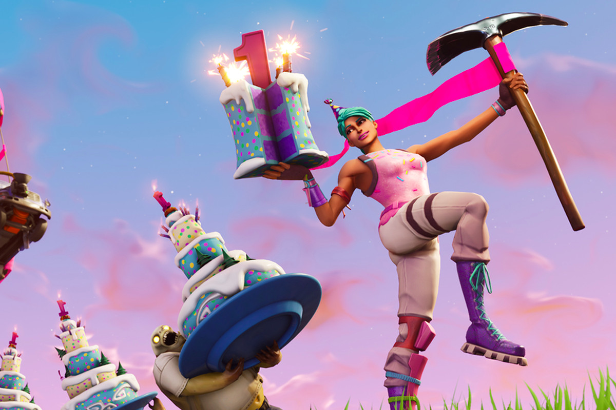 fortnite celebrates its first birthday with mini games cake and