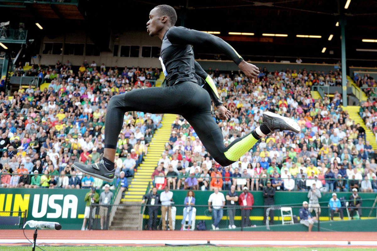 Jun 30, 2012; Eugene, OR, USA; Will Claye places second in the triple jump at 57-7 (17.55m) during the 2012 U.S. Olympic Team Trials at Hayward Field. Mandatory Credit: Kirby Lee/Image of Sport-US PRESSWIRE