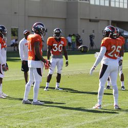 "L to R: Broncos CBs Bradley Roby, Aqib Talib (21), rookie B.J. Lowery (30), Chris Harris Jr. (25), do a drill similar to a ""hot potato"" game."