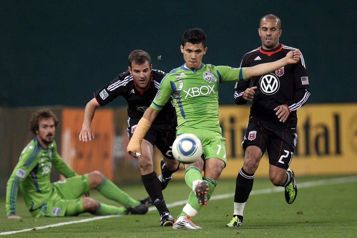 WASHINGTON, DC - MAY 4: Fredy Montero #17 of the Seattle Sounders controls the ball against D.C. United at RFK Stadium on May 4, 2011 in Washington, DC. (Photo by Ned Dishman/Getty Images)