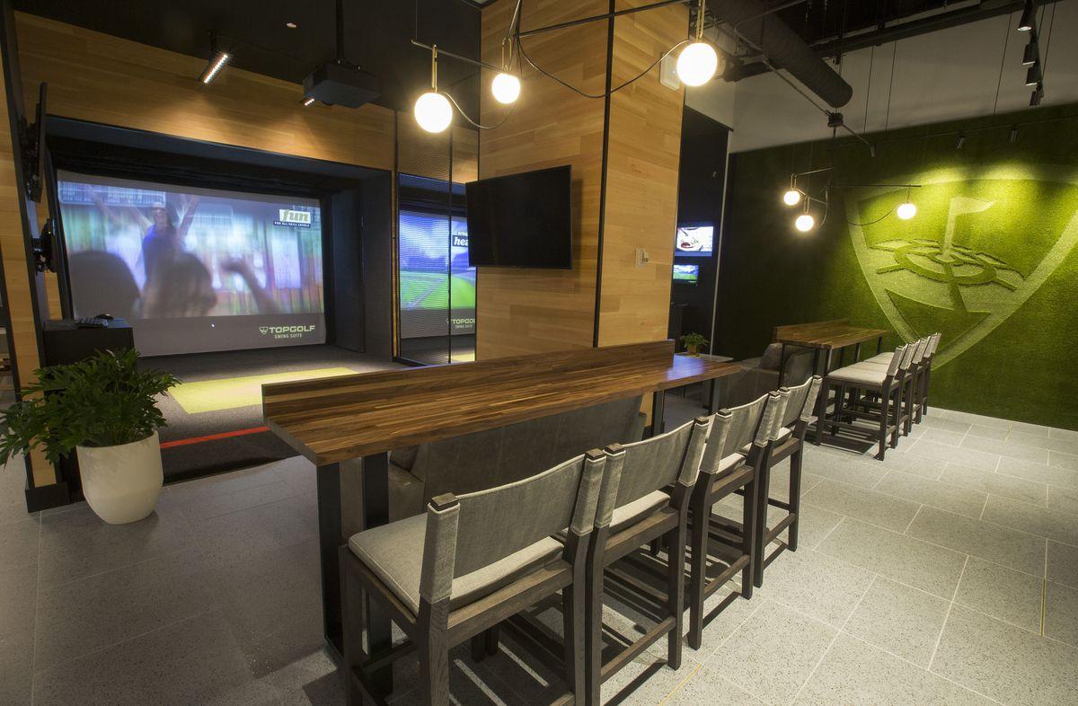 A golf simulator's video screen.