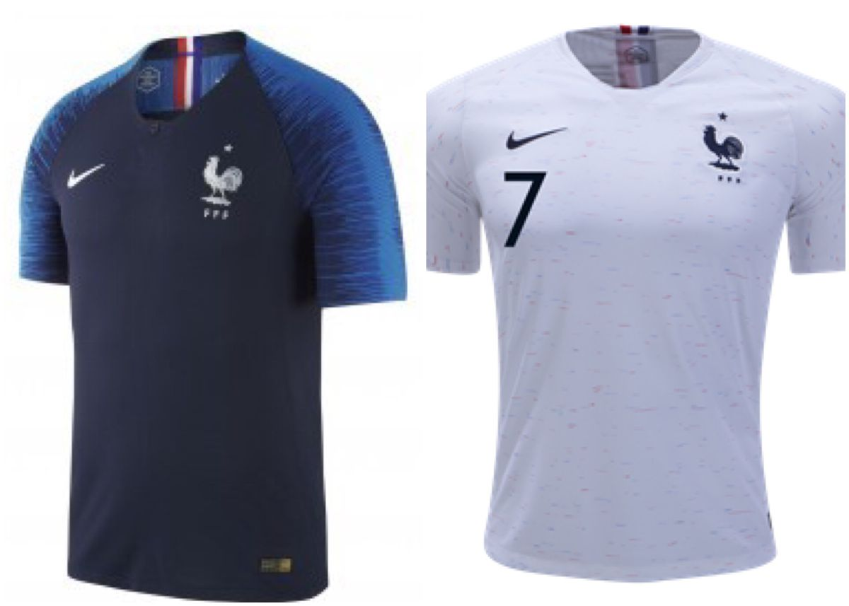 aae4189dce3 France is really doing well with this set. The home jersey lends to a  modern look for Les Bleus, while the away has some blue and red dashes  throughout that ...