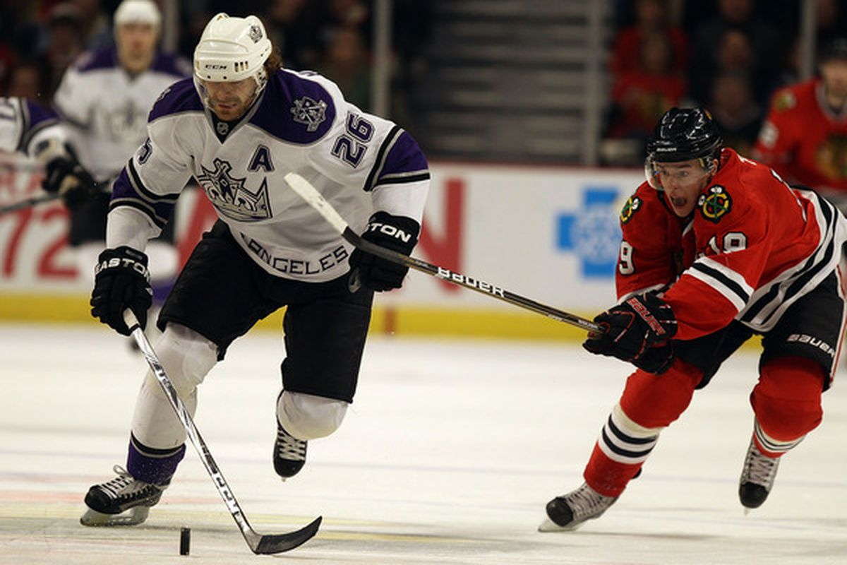This is not a picture; Michal Handzus is moving as fast as he can. (Photo by Jonathan Daniel/Getty Images)