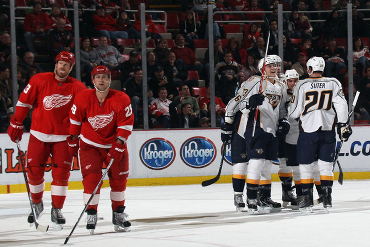 Colin Wilson scored the latest of the dreaded Budd Lynch goals against the Red Wings in last night's game.