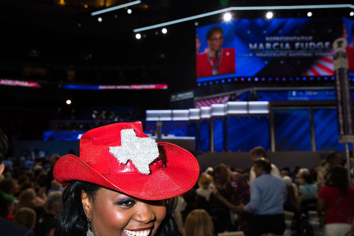 A Democratic delegate from Texas at the 2016 Democratic National Convention in Philadelphia.