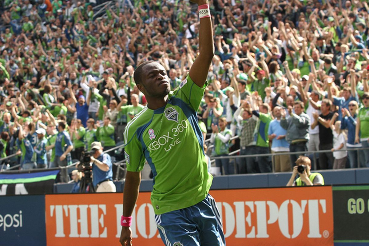 SEATTLE - OCTOBER 02:  Steve Zakuani #11 of the Seattle Sounders FC celebrates after scoring a goal against Toronto FC on October 2 2010 at Qwest Field in Seattle Washington. The Sounders defeated Toronto 3-2. (Photo by Otto Greule Jr/Getty Images)