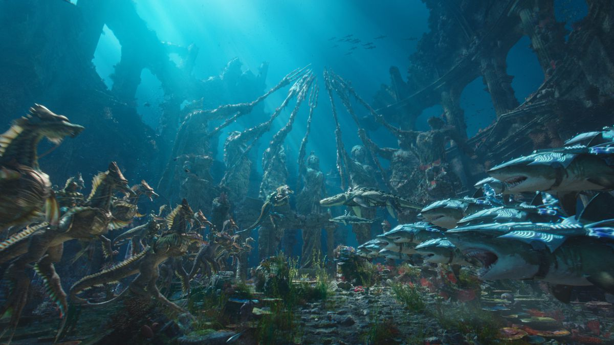 Aquaman - seahorses and sharks underwater