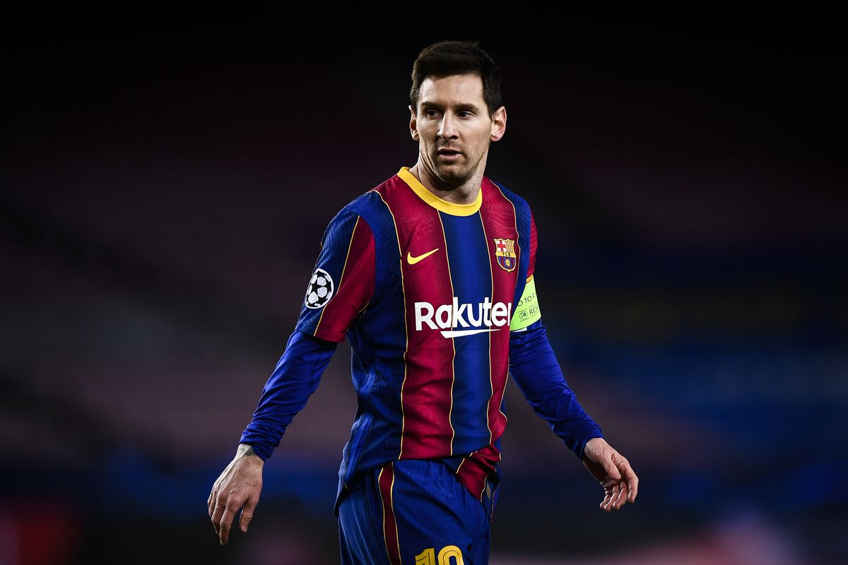 Lionel Messi of FC Barcelona looks on during the UEFA...