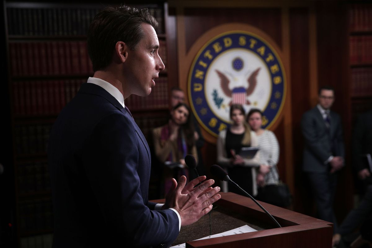 Sen. Josh Hawley (R-MO) speaks during a news conference at the Capitol April 2, 2019.