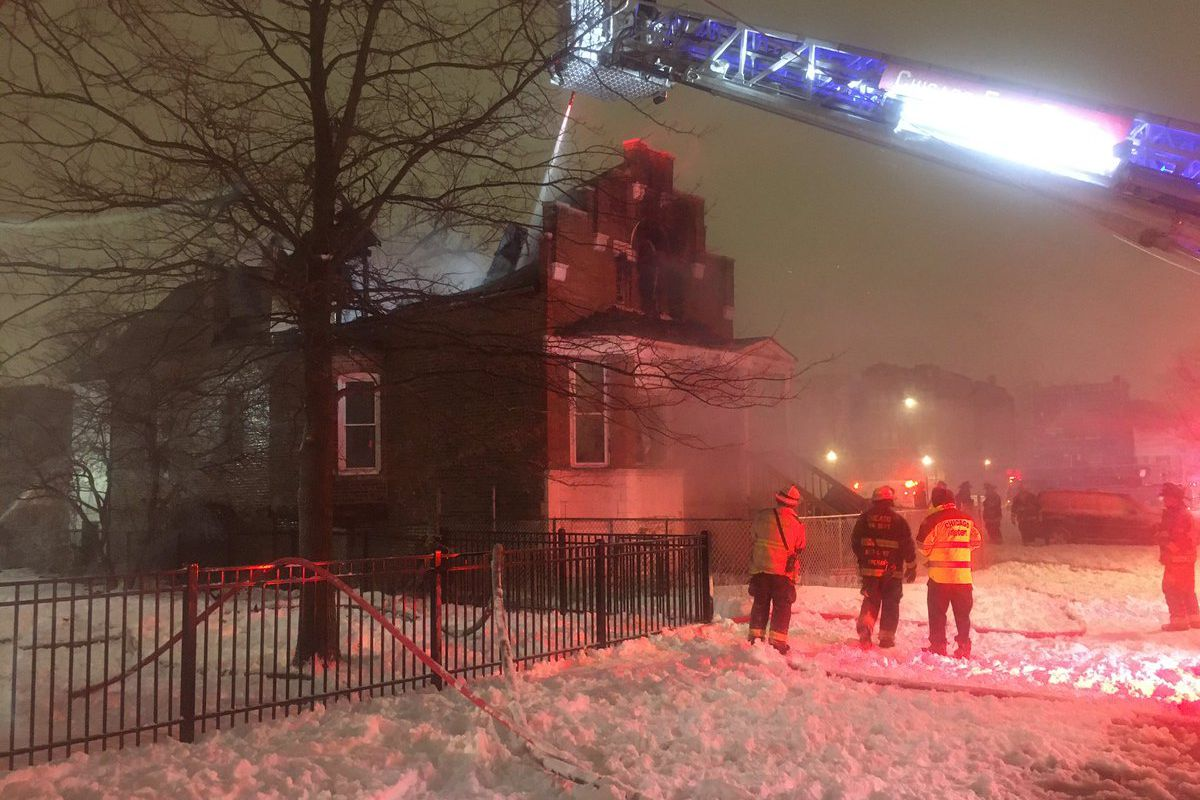 A fire broke out Jan. 31, 2021 at a building in Lawndale.