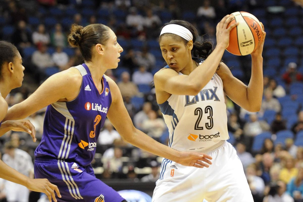 Diana Taurasi (left) is off to a hot start this season, but Maya Moore has been extremely impressive in a different way.