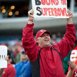 Oct 6, 2013; Nashville, TN, USA; Kansas City Chiefs fan shows his support against the Tennessee Titans during the second half at LP Field. Kansas City won 26-17.