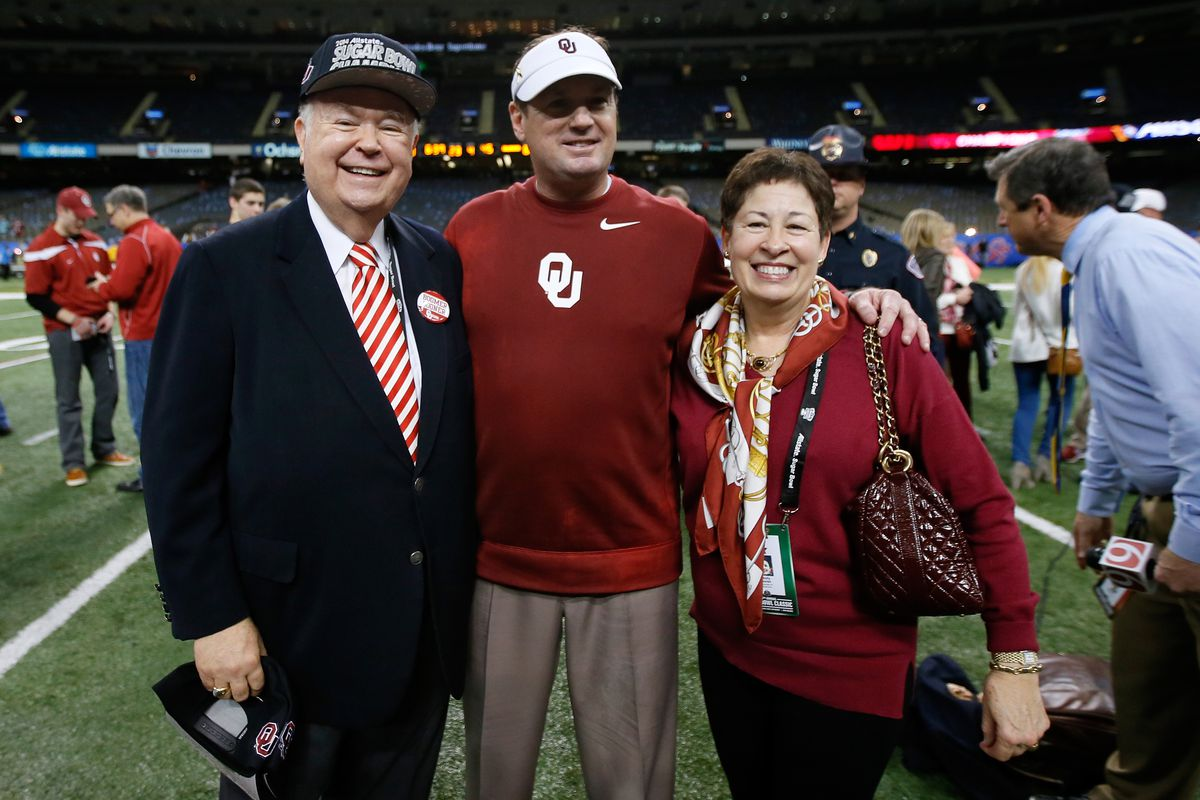 Boren (far left) with OU head coach Bob Stoops after the Sooners defeated Alabama in the Sugar Bowl.