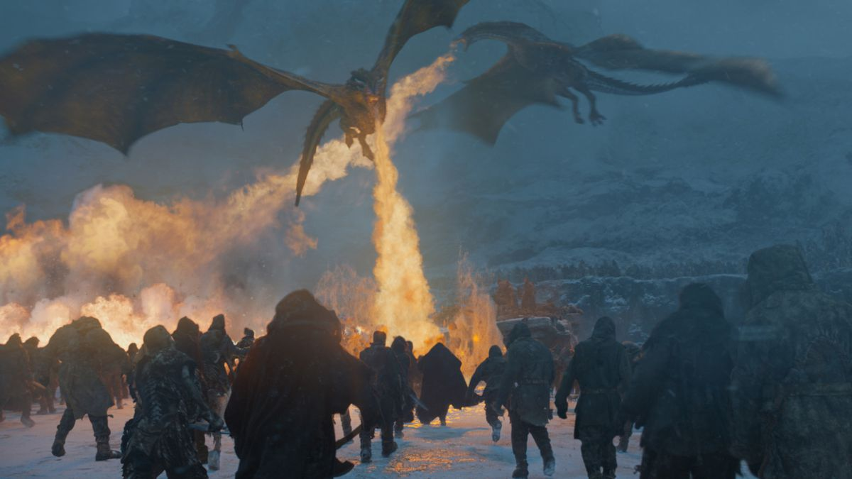 Dragons breathing fire in 'Game of Thrones'