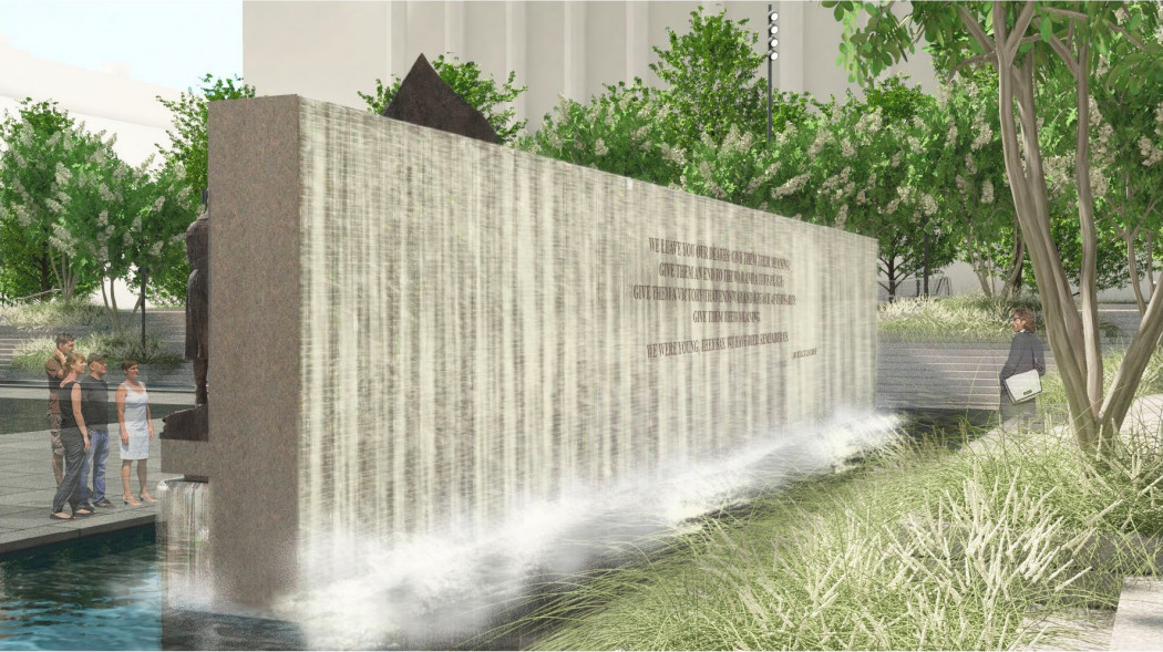 A rendering of a sculptural wall with a cascading fountain.