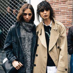 Models (Mica Arganaraz - right) leaving a show in Paris.
