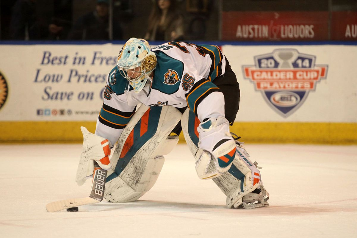 Worcester Sharks goaltender Harri Sateri made 22 saves in net for the Sharks Friday night at the DCU Center.