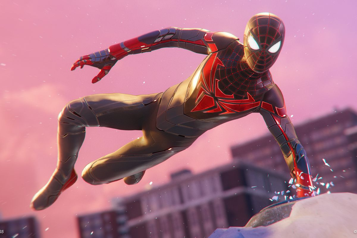 Miles Morales in his new advanced tech suit vaults over a rooftop.