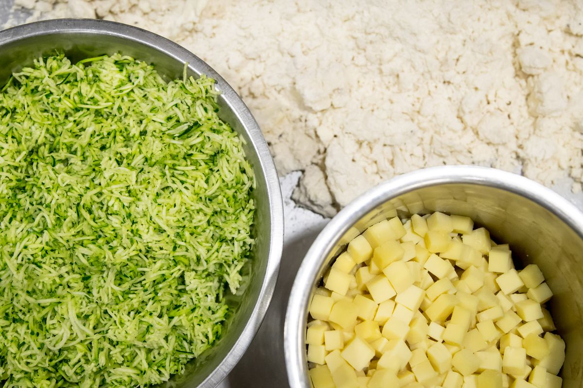 Zucchini, cheese, and flour for the scones