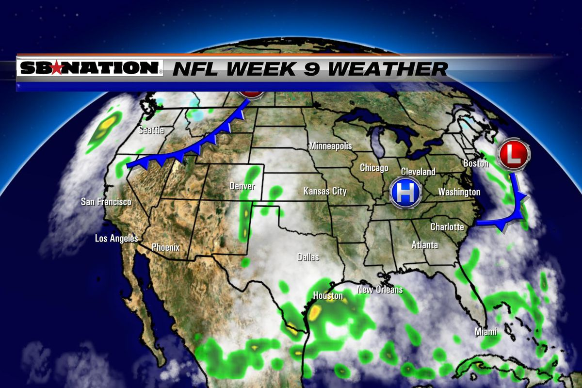 NFL Weather Forecast Week  Mostly Sunny For Most Of The - Us map weather forecast