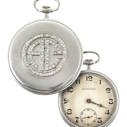 This platinum and diamond Patek Philippe pocket watch, once owned by Al Capone, is now available for auction at Witherell's. The auction goes live on Oct. 8, 2021.