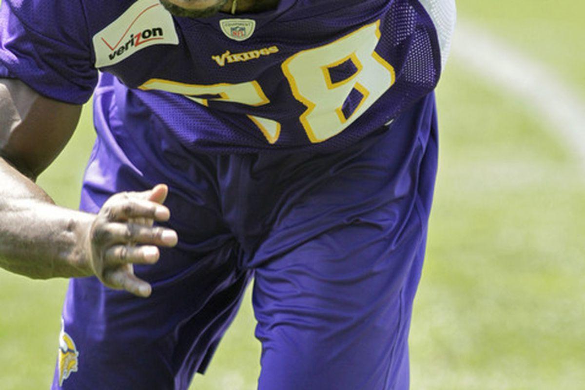 Jun 19, 2012; Eden Prairie, MN, USA; Minnesota Vikings running back Adrian Peterson (28) runs drills by himself at Vikings Minicamp at Winter Park. Mandatory Credit: Bruce Kluckhohn-US PRESSWIRE