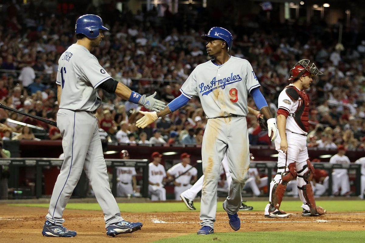 Andre Ethier and Dee Gordon each had their hands in the six-run third inning rally. (<em>Getty Images</em>)