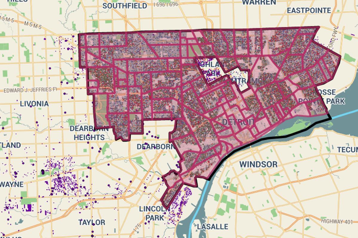 "Map via <a href=""http://www.citylab.com/housing/2015/09/how-detroits-foreclosure-auction-fails-homeowners/404797/""> Citylab</a>"