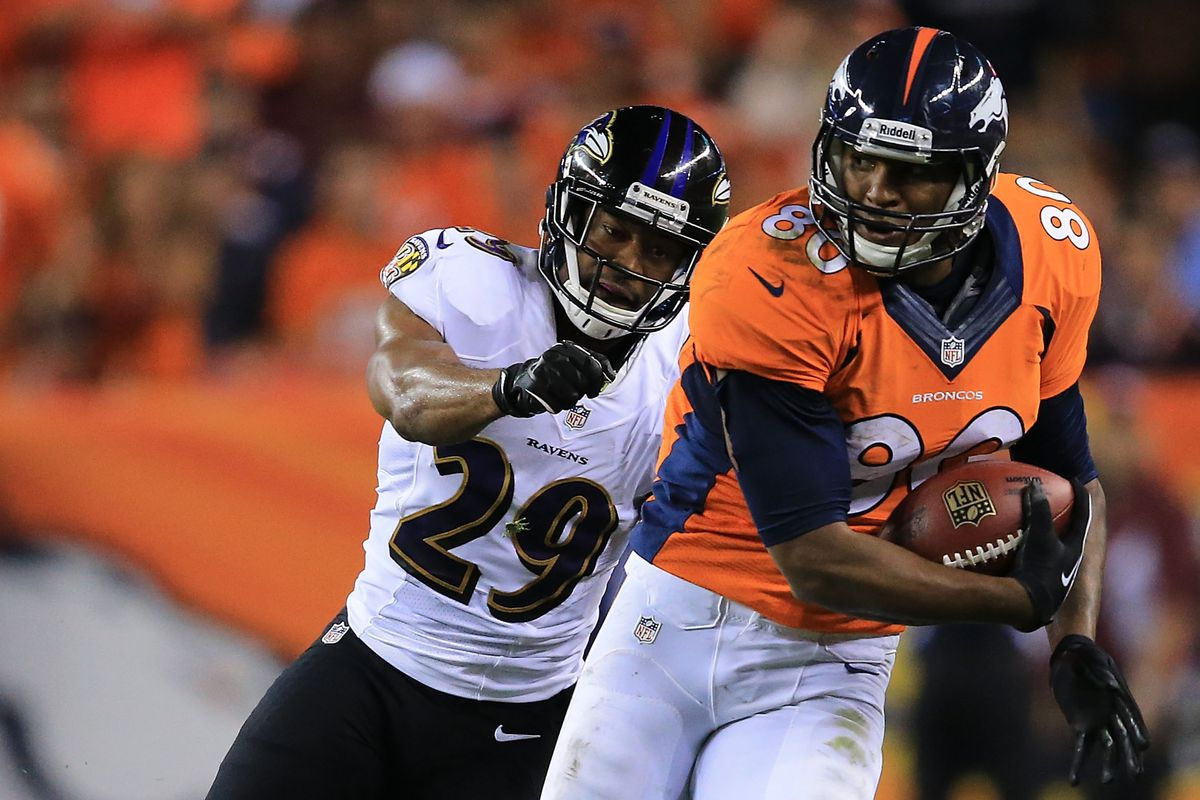 Michael Huff (left) began his year with the Ravens. He'll end it in the Super Bowl with the Broncos.