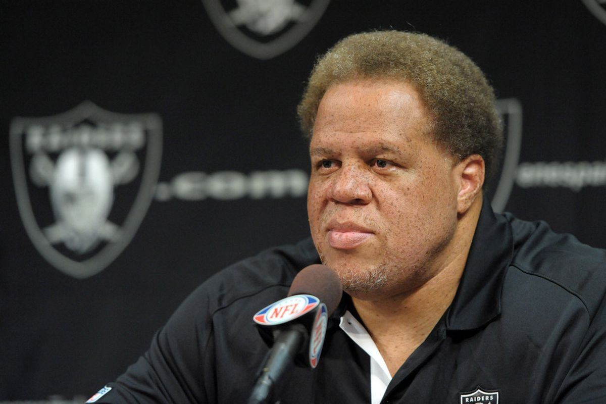 Apr 11, 2012; Alameda, CA, USA; Oakland Raiders general manager Reggie McKenzie at press conference at the Raiders practice facility. Mandatory Credit: Kirby Lee/Image of Sport-US PRESSWIRE