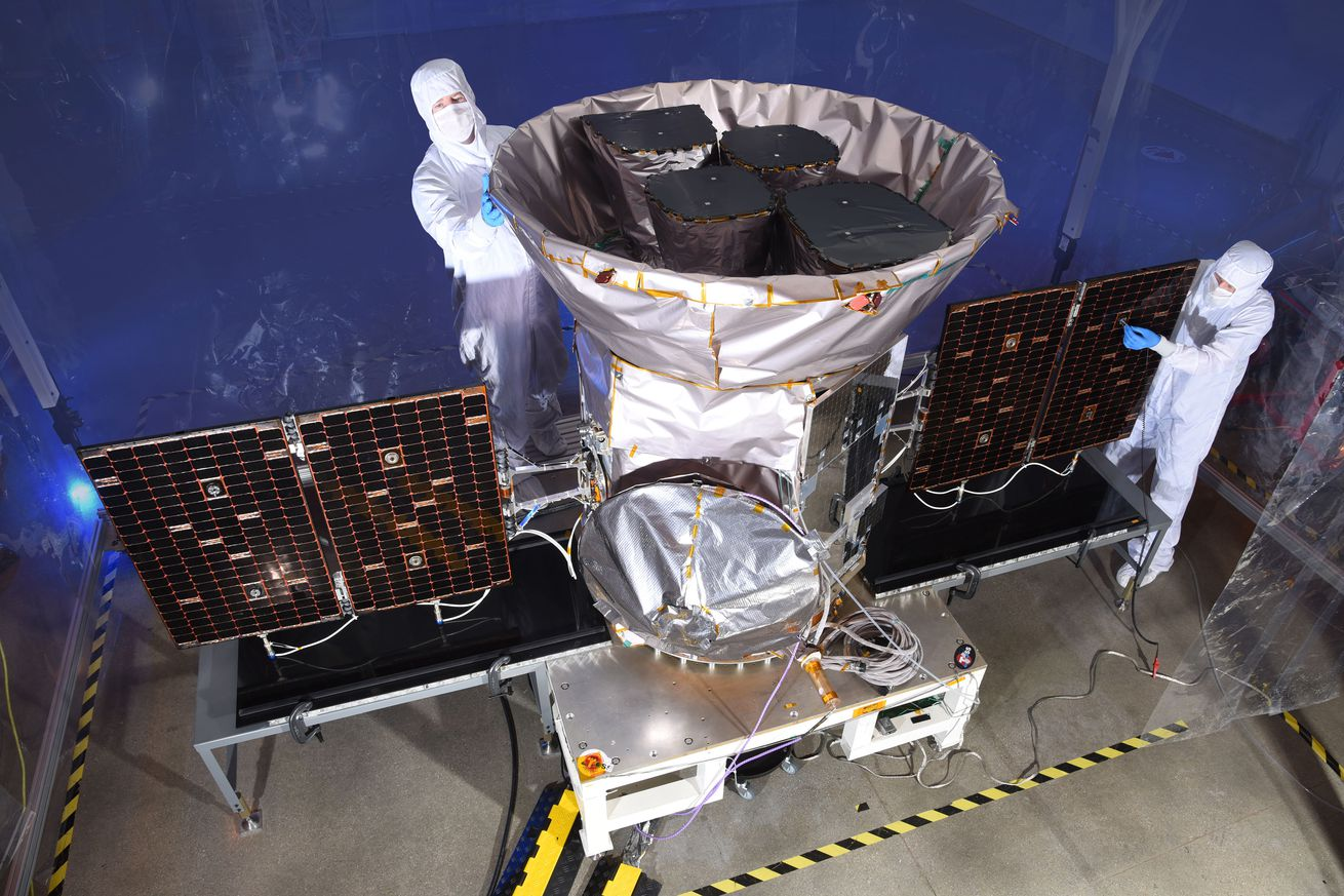 <em>The TESS spacecraft before launch.</em>
