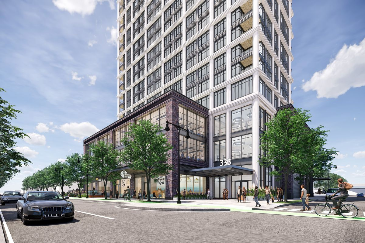 Rendering of a multi-story, mostly glass commercial building.