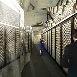 A rendering of another latticed corridor at Hakkasan.
