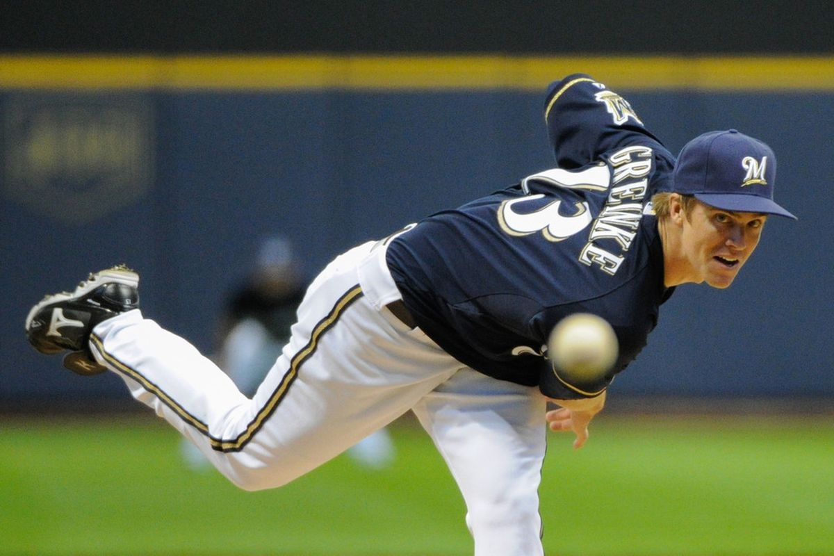 Apr 23, 2012; Milwaukee, WI, USA;  Milwaukee Brewers pitcher Zack Greinke (13) pitches against the Houston Astros in the first inning at Miller Park.  Mandatory Credit: Benny Sieu-US PRESSWIRE
