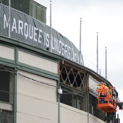 12:31 p.m. Framework being exposed, just above where the marquee was located -