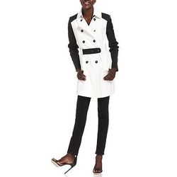 """<b>DKNY</b> Colorblock Trench in black/white, <a href=""""http://www1.macys.com/shop/product/dkny-coat-double-breasted-belted-colorblock-trench?ID=795417&PseudoCat=se-xx-xx-xx.esn_results"""">$129.99</a> (from $180) at Macy's"""