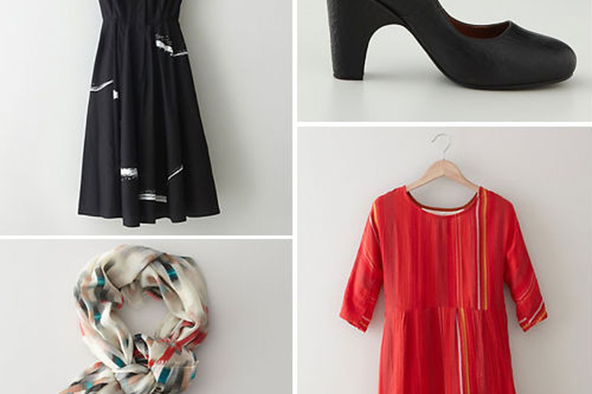 Two top looks are by Rachel Comey, red mini by Ace & Jig, and a Cacharel scarf