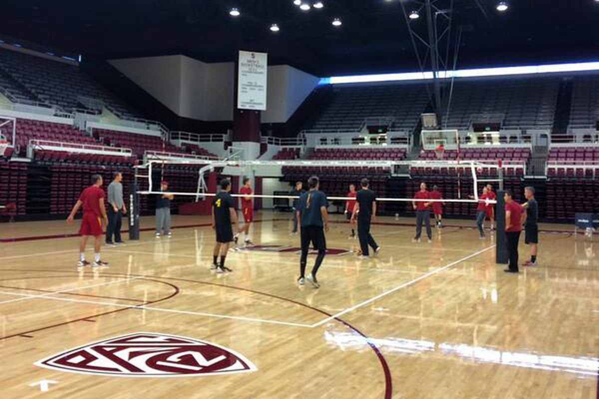 Galen Center Weather Report: Clear skies, low 70s with a slight breeze.  Some paper cups fell over from the earthquake but our court remains  pristine ...
