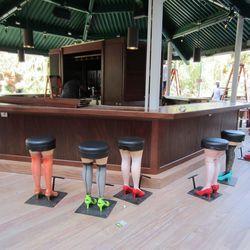 The outside bar seats 200.