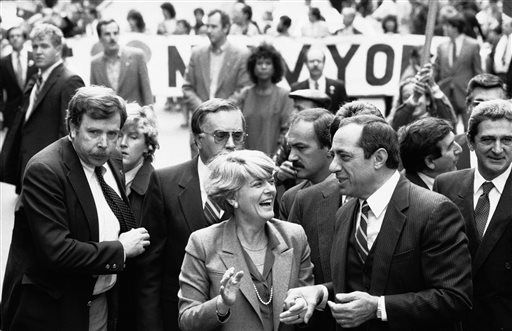 <small><strong>Democratic vice presidential candidate Geraldine Ferraro and New York Gov. Mario Cuomo share a jovial moment while marching in New York''s Columbus Day parade on Oct. 9, 1984.   AP file photo</strong></small>